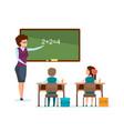 teacher tells school material explains decision vector image vector image