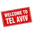 Tel Aviv red square grunge welcome to stamp vector image vector image