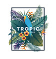 tropical bakground with frame 2 vector image vector image