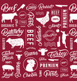 typographic butchery seamless pattern background vector image vector image