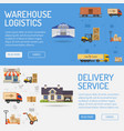 warehouse delivery and logistics banners vector image