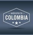 welcome to colombia hexagonal white vintage label vector image vector image