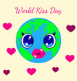 world kiss day 6 july kawai style - eyes and lips vector image vector image