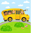 yellow bus with children vector image vector image