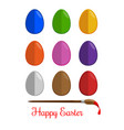 easter eggs icons set flat modern style vector image