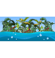 island with palm trees and tropical plants vector image