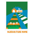 Agriculture emblem for the eco farm vector image