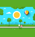 empty park nature scene city sun and hot air vector image