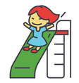 girl on children slide playing kid kindergarten vector image
