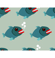 Piranha seamless pattern Toothy fish background vector image