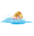 A young girl swimming vector | Price: 1 Credit (USD $1)