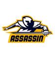 assassin logo lettering crouching warrior vector image