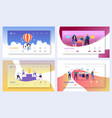 business landing page template set characters vector image vector image