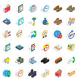 business work icons set isometric style vector image vector image