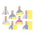 businessman holding blank sign - set vector image vector image