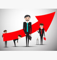 businessmen with big red arrow businessman vector image vector image