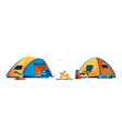 campfire camping hiking tents tourist equipment vector image