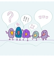 Cartoon birds talking vector image vector image