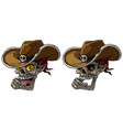 cartoon cowboy skulls with hat and bandana vector image vector image