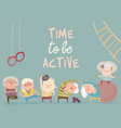 cartoon elderly people doing exercises vector image