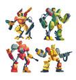 cartoon robot guards futuristic battle vector image