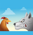 chicken wolf face-off vector image vector image