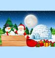 christmas night with santa vector image vector image