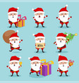 christmas santa claus cute character holiday set vector image vector image
