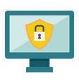 computer security flat icon protection padlock vector image