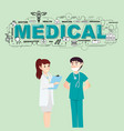 doctors with medical icons for healthcare vector image vector image