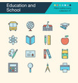 education and school icons filled outline design vector image vector image