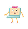 flat funny laptop female character with bow vector image vector image
