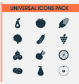 food icons set with olives grapes tree and other vector image