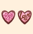 girly pink glamorous heart-shaped chocolates out vector image