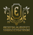 golden patterned monogram template in beautiful vector image vector image