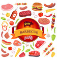 grill barbecue party and icons vector image vector image