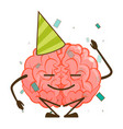isolated cute funny brain character cartoon mascot vector image