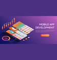 isometric smartphone with mobile application user vector image vector image