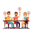 jury judges holding scorecards quiz people show vector image vector image