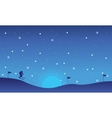 Landscape people skiing of silhouettes Christmas vector image vector image