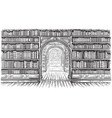 library book shelf interior graphic sketch black vector image