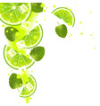 lime with mint leaves and splashes of juice vector image vector image