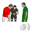 male referee tossing a coin vector image