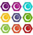 marbled bowling ball icon set color hexahedron vector image vector image