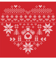 Nordic pattern in hearts shape with an angel red vector image vector image