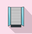 open commercial fridge icon flat style vector image