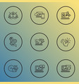 optimization icons line style set with time vector image