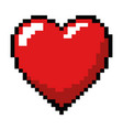 pixelated heart game icon vector image vector image