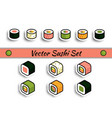 rolls sushi set isolated vector image