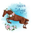 running white horse with a roses watercolor vector image